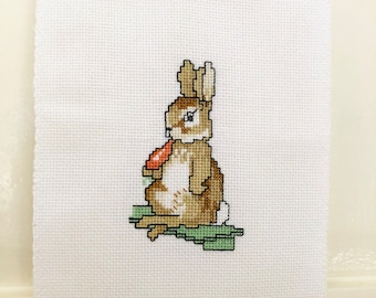 Cross Stitch Beatrix Potter Peter Rabbit Squirrel Nutkin Small Handmade Embroidery Ready to Frame