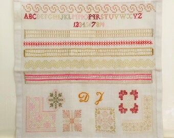 Antique Sampler Dutch Sampler Cross Stitch Handmade Collectors Item Antique Embroidery Handstitched Item