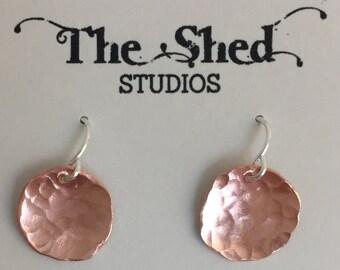 Copper Disc Earrings, Hammered Copper Earrings, Small Copper Earrings