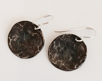 SALE! Oxidized Silver Disc Earrings, Hammered Silver Earrings, Large Silver Earrings
