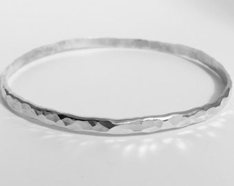 Hammered Silver Bangle, Silver Bracelet