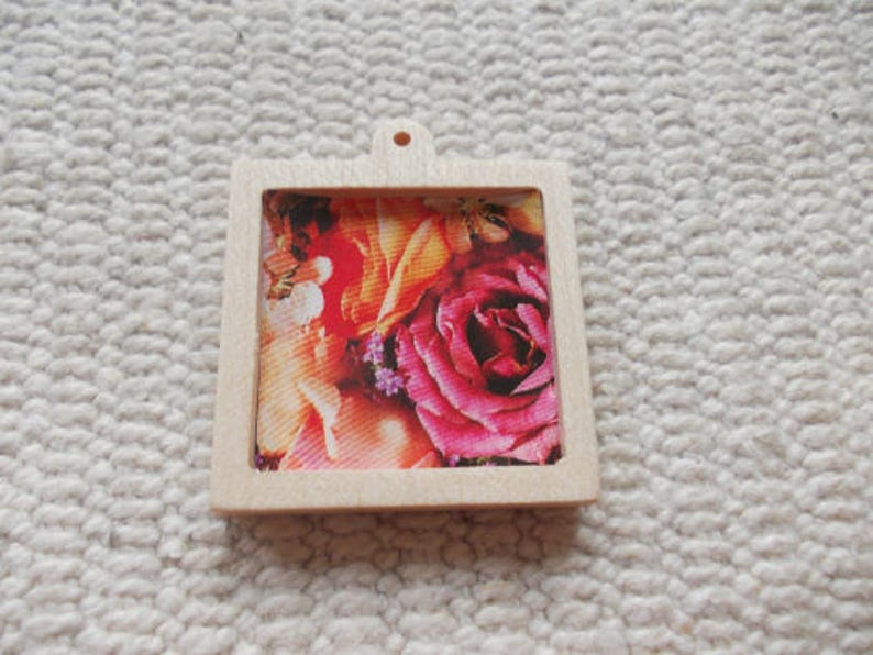 1 pc unfinished 25 x25mm square-shaped pendant base with round image 0