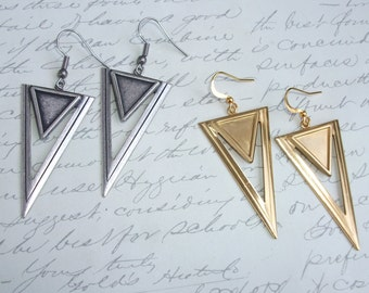 Triangle drop earrings in oxydized silver or raw brass finish
