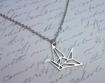 Origami paper crane bird necklace
