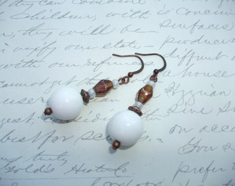 White and amber brown glass bead earrings