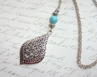 Filigree silver drop necklace with turquoise stone