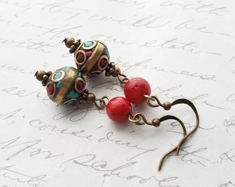 03d09b597 Turquoise and red Nepal bead earrings in antique brass