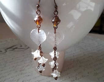 White floral copper earrings with leaves and pearls