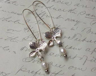 Silver orchid flowers and pearls earrings