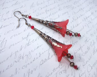 Bell flower red earrings in antique bronze with crystal dangle