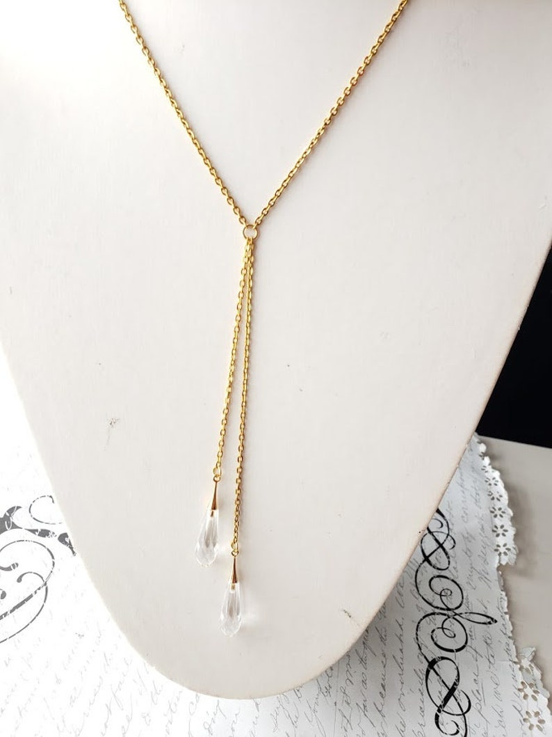 Crystal drops gold lariat long necklace