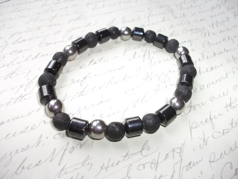 lava rocks and stainless steel beads Mala bracelet in hematite