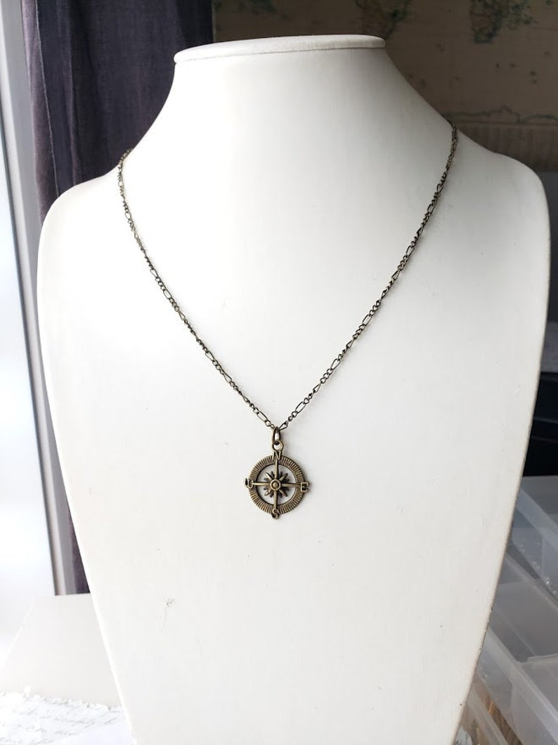 Compass pendant unisex necklace with antique brass chain