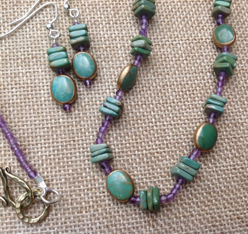 Turquoise with Copper Necklace and Earrings Amethyst and Turquoise, Turquoise and Amethyst Native American Style Jewelry OOAK