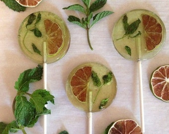 3 Mojito Wedding Birthday Party Favors Lollipops With Organic Mint Leaves And Lime Slices