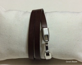 Reversible Triple wrap black and brown leather bracelet  - Leather wrap bracelet zamak clasp - 3 wrap cowhide bracelet