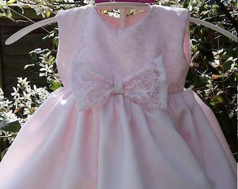 Soft Pink Satin Baby Dress