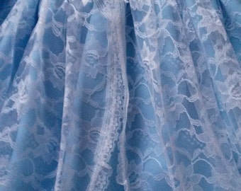 White Lace Over Pale Blue Baby Dress