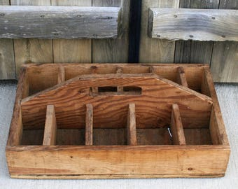 Divided Wood Tool Carrier, Vintage Tool Caddy, Farm Tool Tote