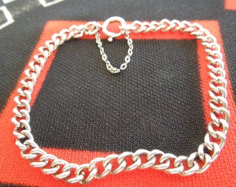 "Sterling Bracelet With Safety Chain 7 1/4"" Sterling Silver Charm Bracelet from Charmhuntress 05140"