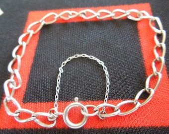 "Sterling Bracelet With Safety Chain 8"" Sterling Silver Charm Bracelet from Charmhuntress 04487"