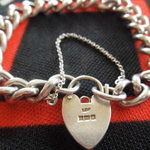 Sterling Bracelet With Silver Padlock Heart Charm And Safety Chain 7  14 Bracelet from Charmhuntress 06082