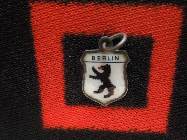 Enamel Silver Berlin Charm Coat of Arms Germany Travel Shield 800 Silver Charm for Bracelet