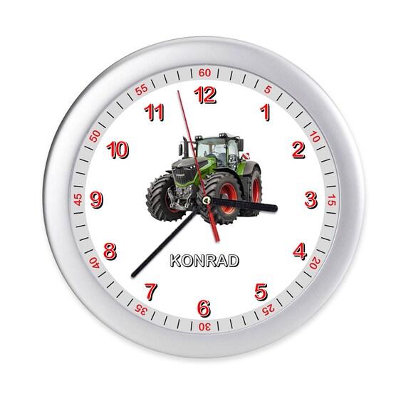 Wanduhr Kinderzimmer Kinder Uhr Traktor Trecker Lernuhr Kinderuhr Uhren  Einschulung mit Motiv personalisiert kein Ticken bunt