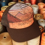 Cut Threads, 100% Pure Love, Trucker Hat, Sunset Artwork