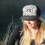 The Shirley Hat, Cross Stitched wonderfulness on Canadian made trucker hat