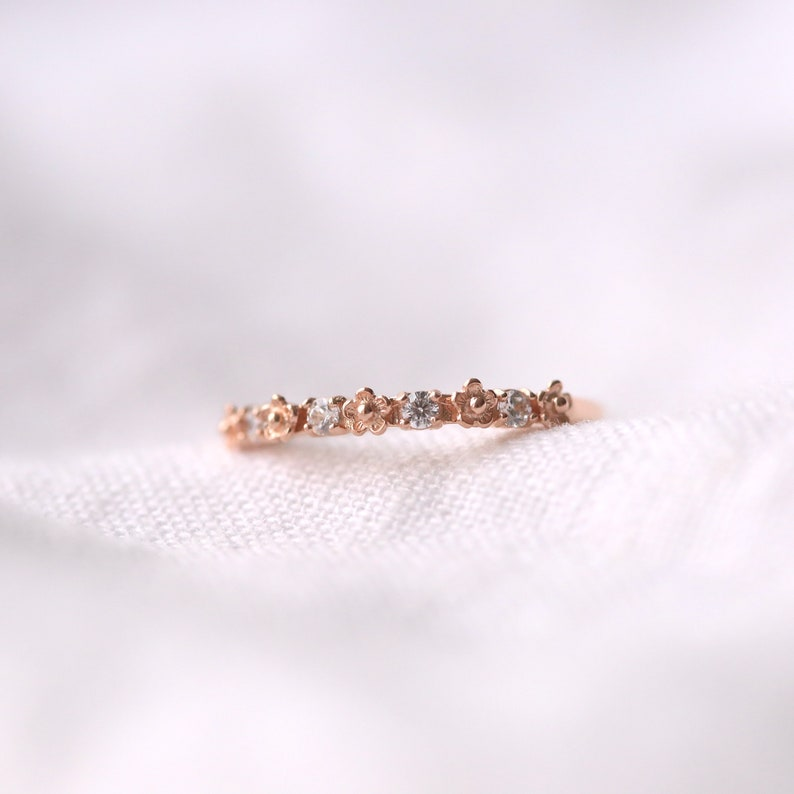 2746e8e096f50 Tiny flower and cz ring, rose gold ring, silver ring, flower ring, dainty  ring, rose gold jewelry, zirconia ring, bridesmaid gift, band ring