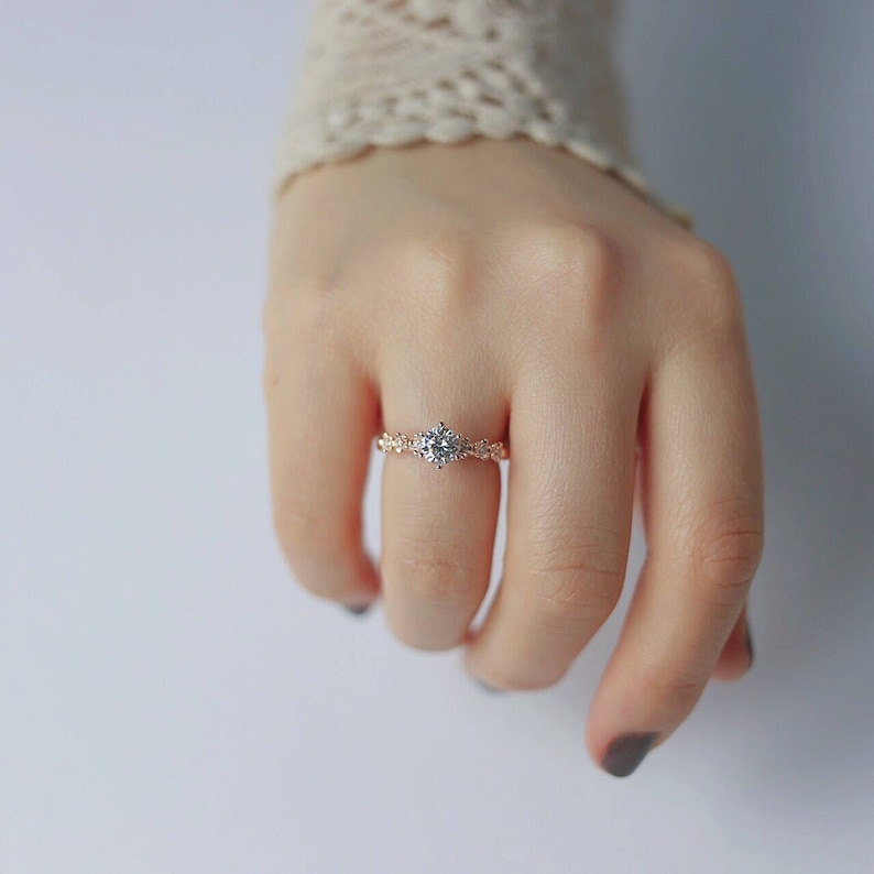 Rose gold flower cz solitaire ring engagement ring promise image 0