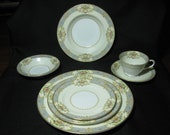 Noritake Fiesta VINTAGE china floral w blue scroll service for 4 (7 pc setting, 28 total) beautiful set plates LIKE NEW more available