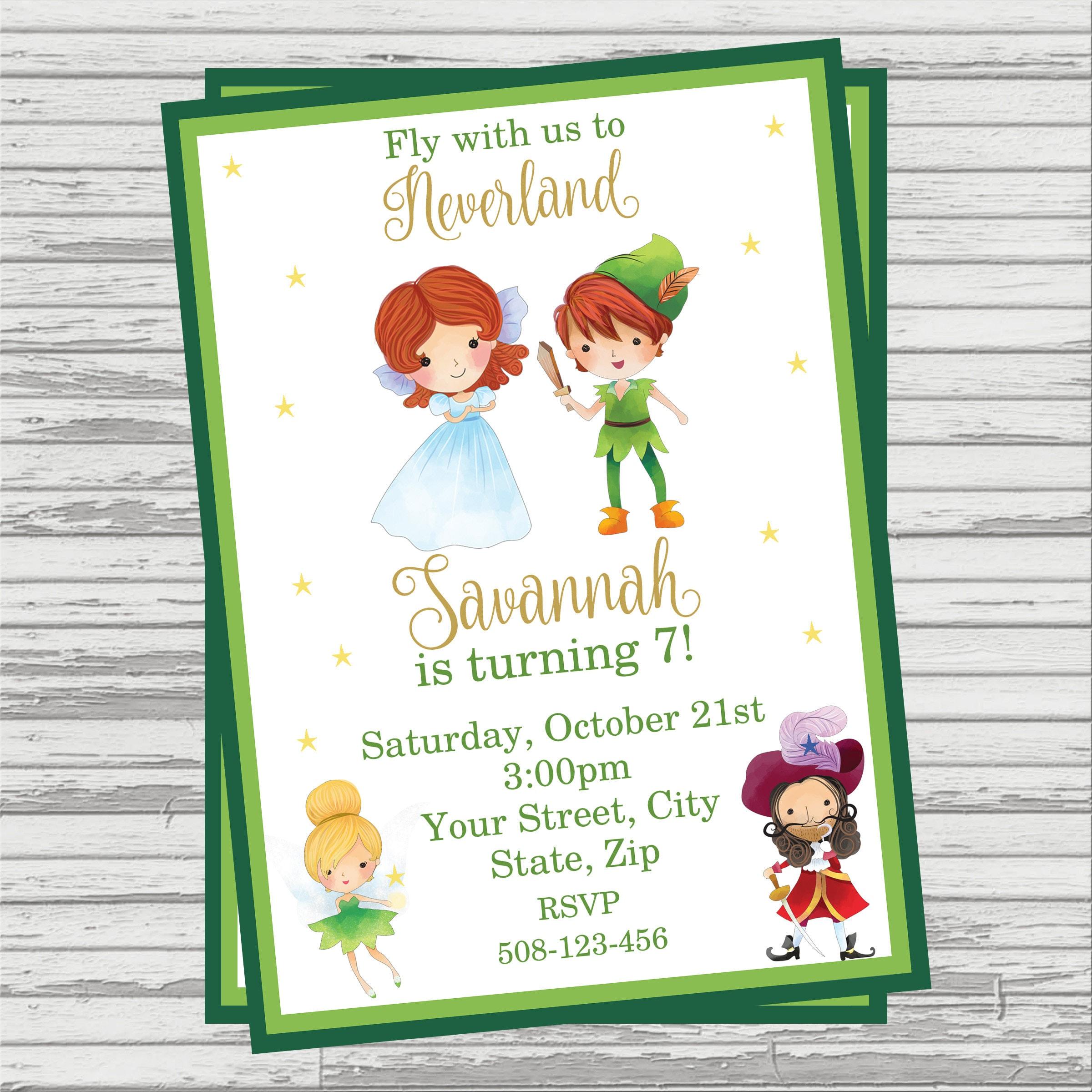 Peter Pan Themed Party Custom DIGITAL Birthday Invitation. | Etsy