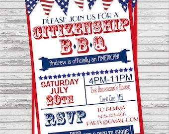 Citizenship/Naturalization BBQ Party Invitation - Vintage Look.