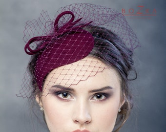 a5392dc68a52d Burgundy wool felt fascinator with bow and netting