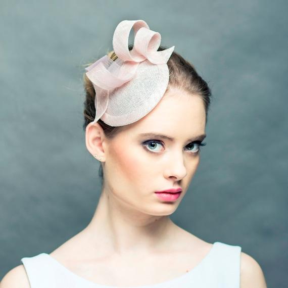 Elegant light pink pill box hat modern powder pink saucer  b68241c443c
