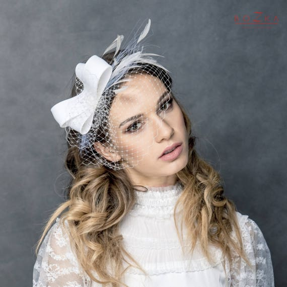 Modern bridal silk fascinator with veiling and feather big  45ea541e8d1