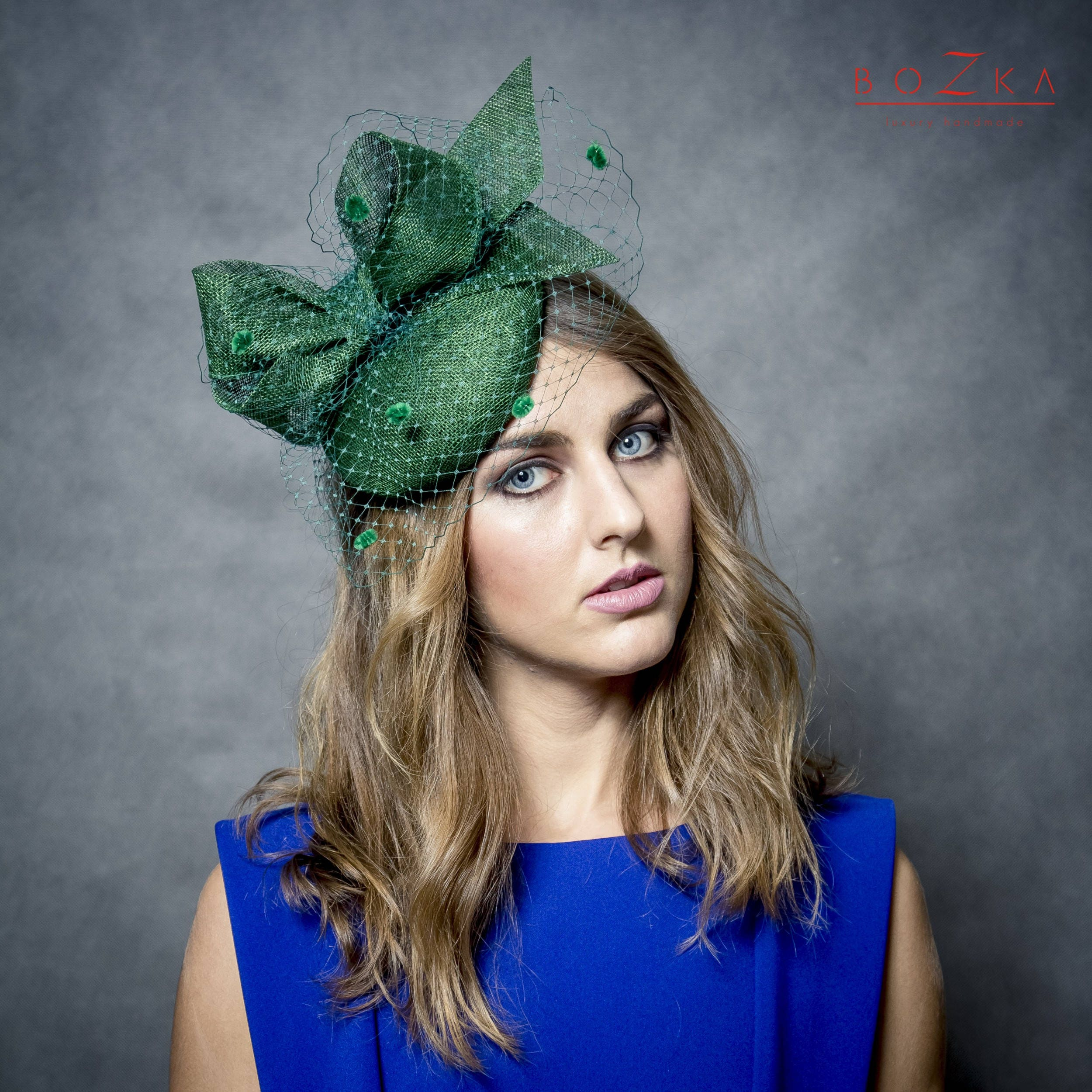 Beautiful deep green pill box hat with big bow and spotted  6e12017e20a