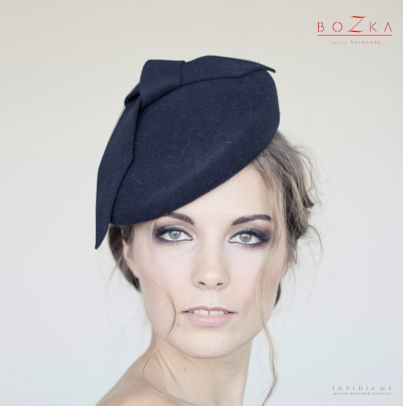 ae90bd3ee Navy wool felt beret with big bow, navy hat with modern bow, navy bow, navy  wool felt fascinator