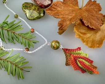 Autumn Leaf Pendant, Crochet Necklace, Fall Leaf Jewelry, Forest Jewellery, Fall Colors, Nature Inspired, Autumn Leaves, Leaf Necklace