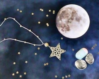 Hand Crocheted Star Pendant Microcrochet Necklace Grey Labradorite SterlingSilver Cotton Dark Night Natural Nature Inspired Space Stargazing