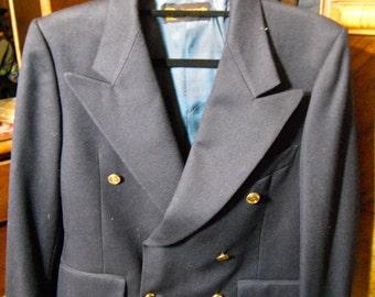 Jahrgang leichten blauen Sakko, blauen Mantel mit goldenen Knöpfen, farbige Blazer, helle blaue Blazer, adrette klassischen Blazer, 1980er Jahre