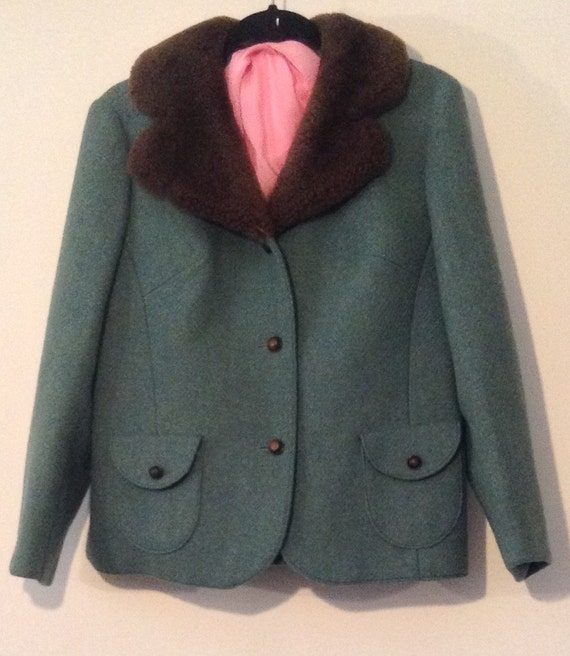 Vintage Wool Jacket w/ Faux Fur Collar
