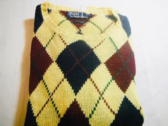 Vintage Mens Polo Argyle Sweater