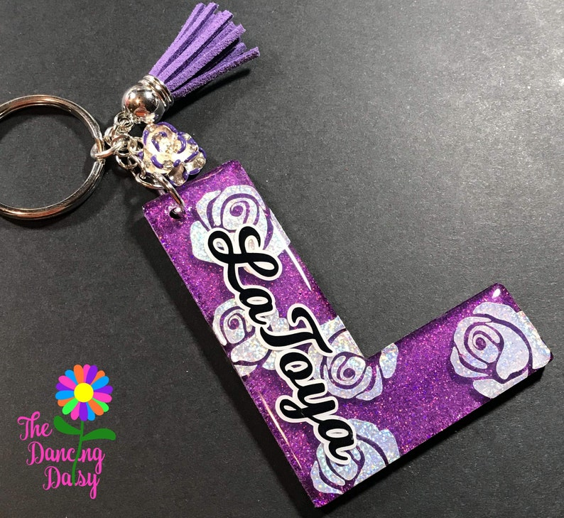 Rose Initials and letters Keychain