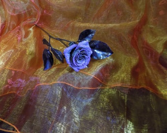 Long Stem Rose in Forged Aluminum with a Kiss of Lavender