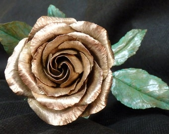 """Silver Plated """"American Beauty Rose"""" Engagement Present -Silver Plated Forged Copper"""