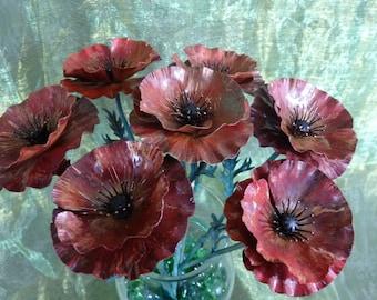 Field Poppy Flower in Red -  Forged Copper & Brass