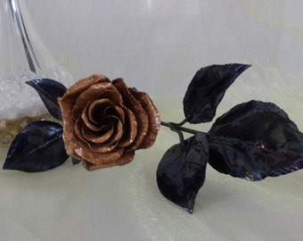 Classic  Long Stemmed Rose in forged copper. Roses that last a lifetime.